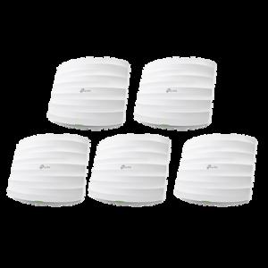 Kit de 5 Puntos de Accesso Omada doble banda 802.11ac, MU-MIMO, PoE af y PoE Pasivo, soporta hasta 100 clientes, hasta 1350 Mbps.