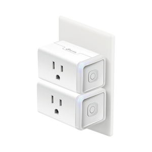 Kit de 2 Mini tomacorriente inteligente Wi-Fi, 100 - 120V~, 50/60Hz, 15.0A, compatible con Amazon Alexa y Google Assistant, color blanco.