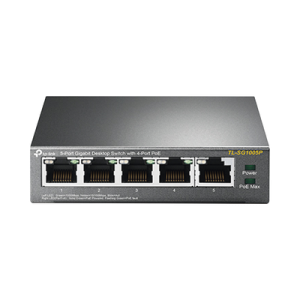 Switch PoE Gigabit de 5 puertos, con 4 puertos PoE 802.3af/at de hasta 56 W