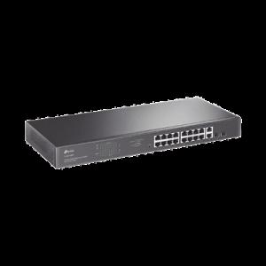 Switch no administrable de 16 puertos 10/100/1000Mbps y PoE af/at, 2 puertos SFP hasta 250W.