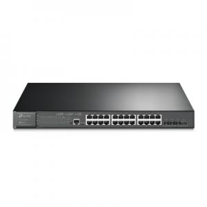 Switch PoE+ JetStream SDN Administrable 24 puertos 10/100/1000 Mbps + 4 puertos SFP+, 24 puertos PoE+, 384W, administración centralizada OMADA SDN