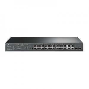 Switch PoE+ JetStream SDN Administrable 24 puertos 10/100 Mbps + 2 puertos 10/100/1000 Mbps (Uplink) + 2 puertos SFP (combo 2 RJ45 10/100/1000 Mbps), 250W, administración centralizada OMADA SDN