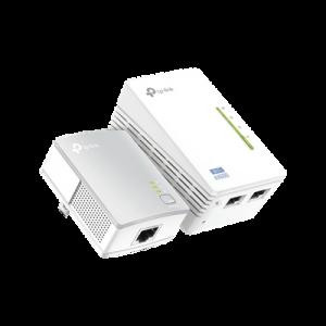 Kit Adaptador PowerLine Inalámbrico 300Mbps, 2 Puertos 10/100 Mbps, HomePlug AV, Plug and Play, WiFi Clon.
